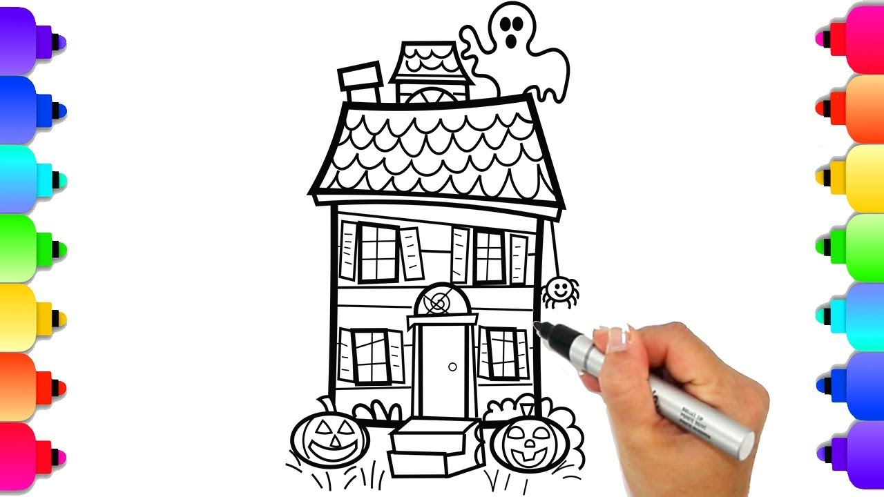 How to Draw a Haunted House Easy for Kids | Halloween ...