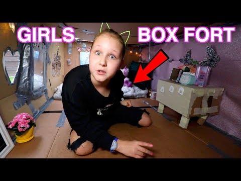 GIRLS ROOM BOX FORT CHALLENGE!! BOX ROOM TOUR!! Ruby Rube