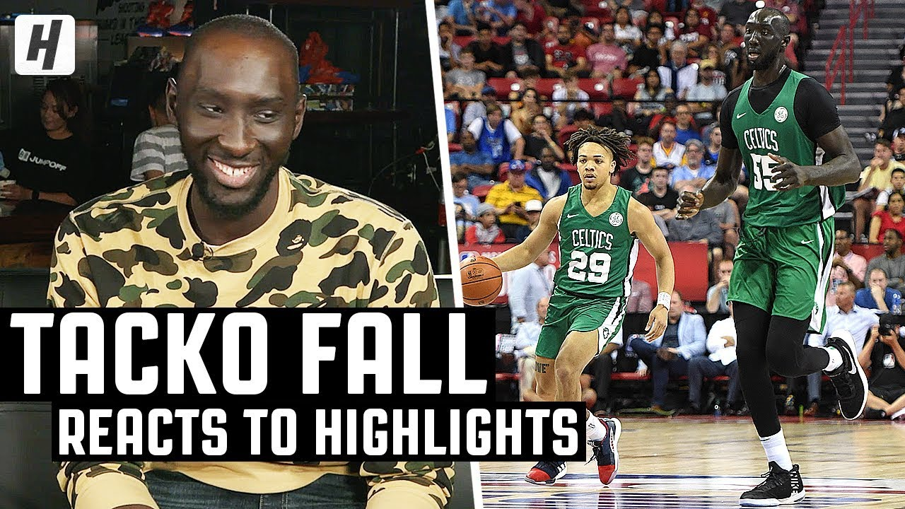 Tacko Fall Reacts To Tacko Fall Highlights! | The Reel