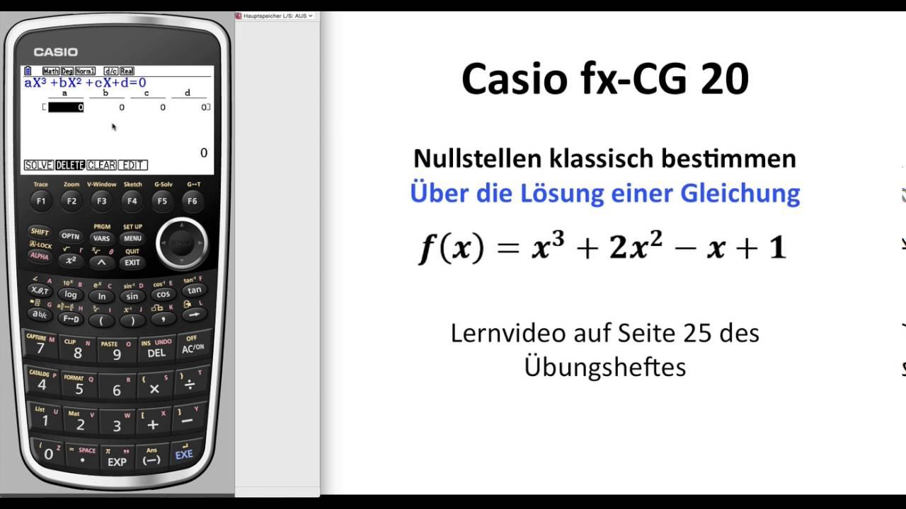 casio fx cg50 casio fx cg20 nullstellen einer funktion. Black Bedroom Furniture Sets. Home Design Ideas