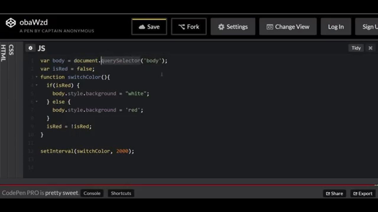 Javascript Dom manipulation with HTML background changing color