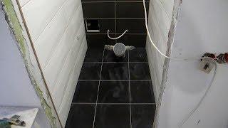 Укладка плитки на пол в туалете ч.2