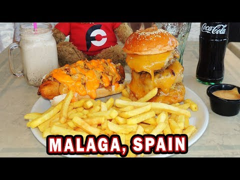 Spanish Triple Cheeseburger And Fried Hot Dog Challenge!!