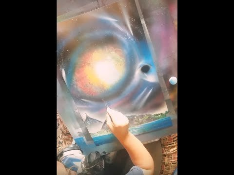 black hole sun space spray paint art