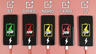 Oneplus 8T vs Oneplus 8 Pro vs Nord vs 7 Pro vs 7T Battery Charging Test | Fast Charging Test
