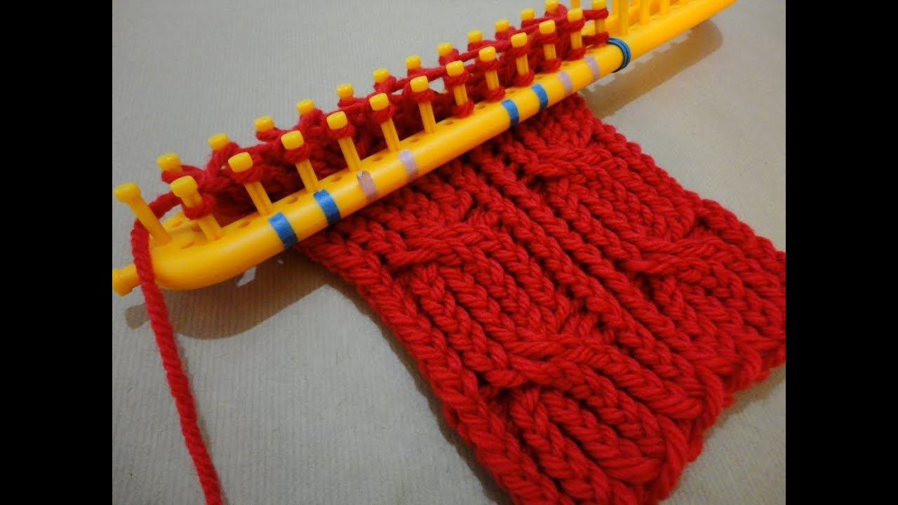 Rectangular Loom Knitting Patterns : Como tejer un cuello trenzado en telar rectangular - YouTube