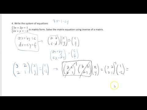 Calculus III Final Exam Review 2: Matrices and Complex numbers