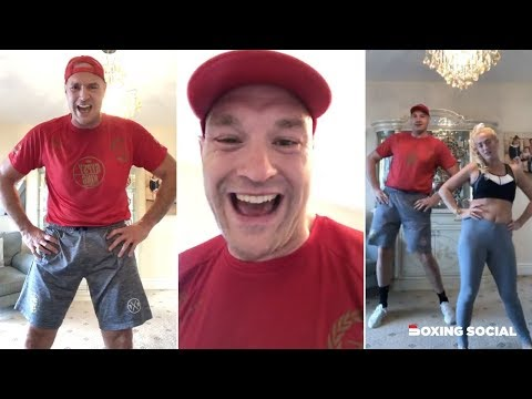 GYPSY KING WORKOUT! - TYSON AND PARIS FURY FULL LIVE FEEL-GOOD LOCKDOWN LIVING ROOM MORNING WORKOUT