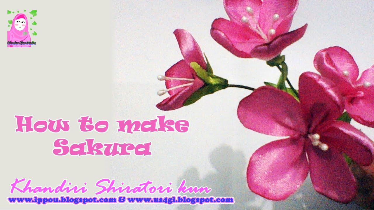 Cara Membuat Bunga Sakura dari Pita (Ribbon Sakura) - YouTube cb2aedf24b