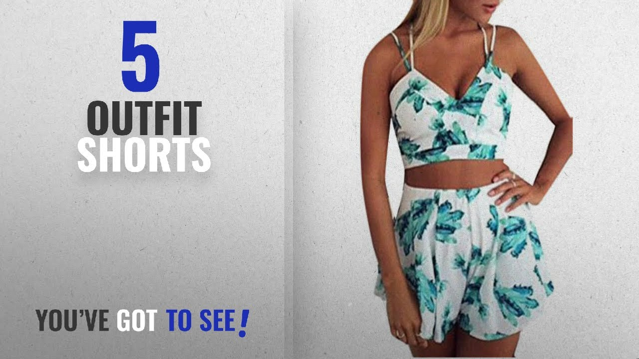 [VIDEO] - Top 10 Outfit Shorts [2018]: S-Fly Womens Beach Strap Crop Tops Shorts Printed Summer Outfit 2 Piece 2