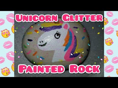 DIY Unicorn Glitter Painted Rock / Hidden Rock Game