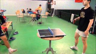 Repeat youtube video Liu Guoliang vs. Ma Long in mini table tennis!