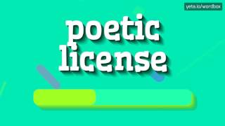 POETIC LICENSE - HOW TO PRONOUNCE IT!?