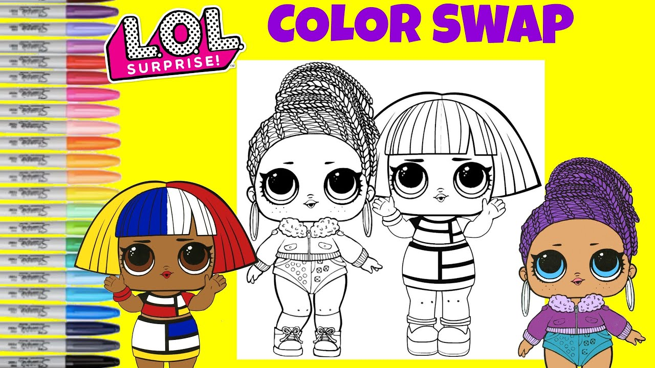lol surprise coloring book page color swap bling queen and