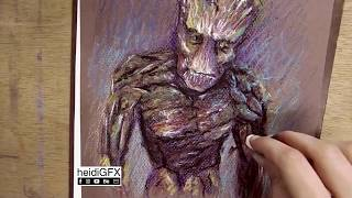 Groot - Guardians of the Galaxy - Fan Art - Oil Pastels