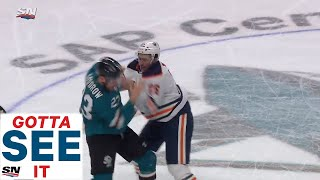 Connor McDavid Dropped In Neutral Zone Then Brandon Manning Fights Barclay Goodrow