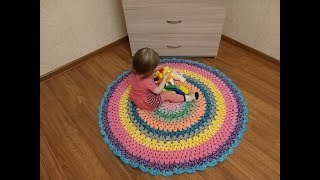 Круглый коврик крючком. Крючок для начинающих 2019. Knitting.