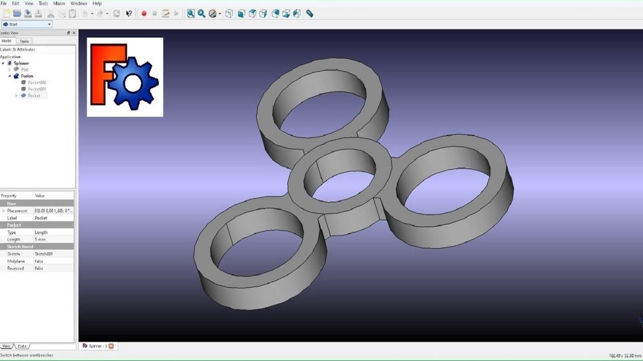 FreeCAD Fidget Spinner Simple Design (And Test) - Самые