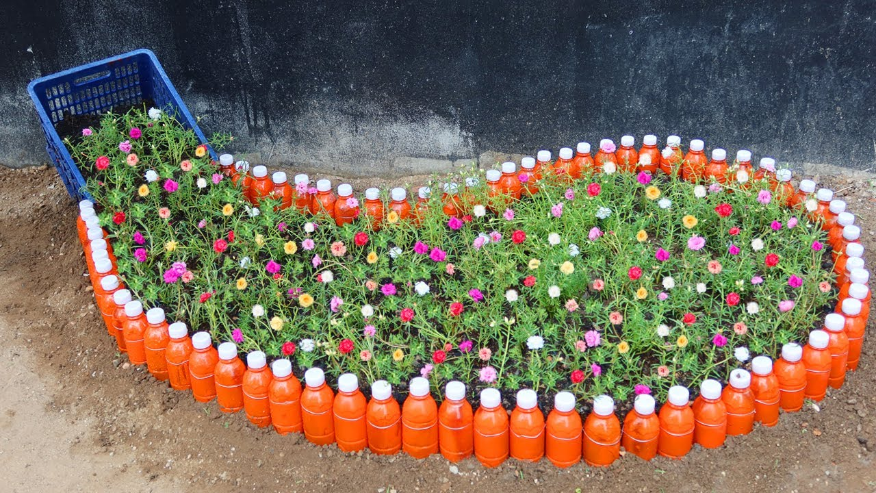 How to Recycle Plastic bottles into Unique Spilled Flower Pot