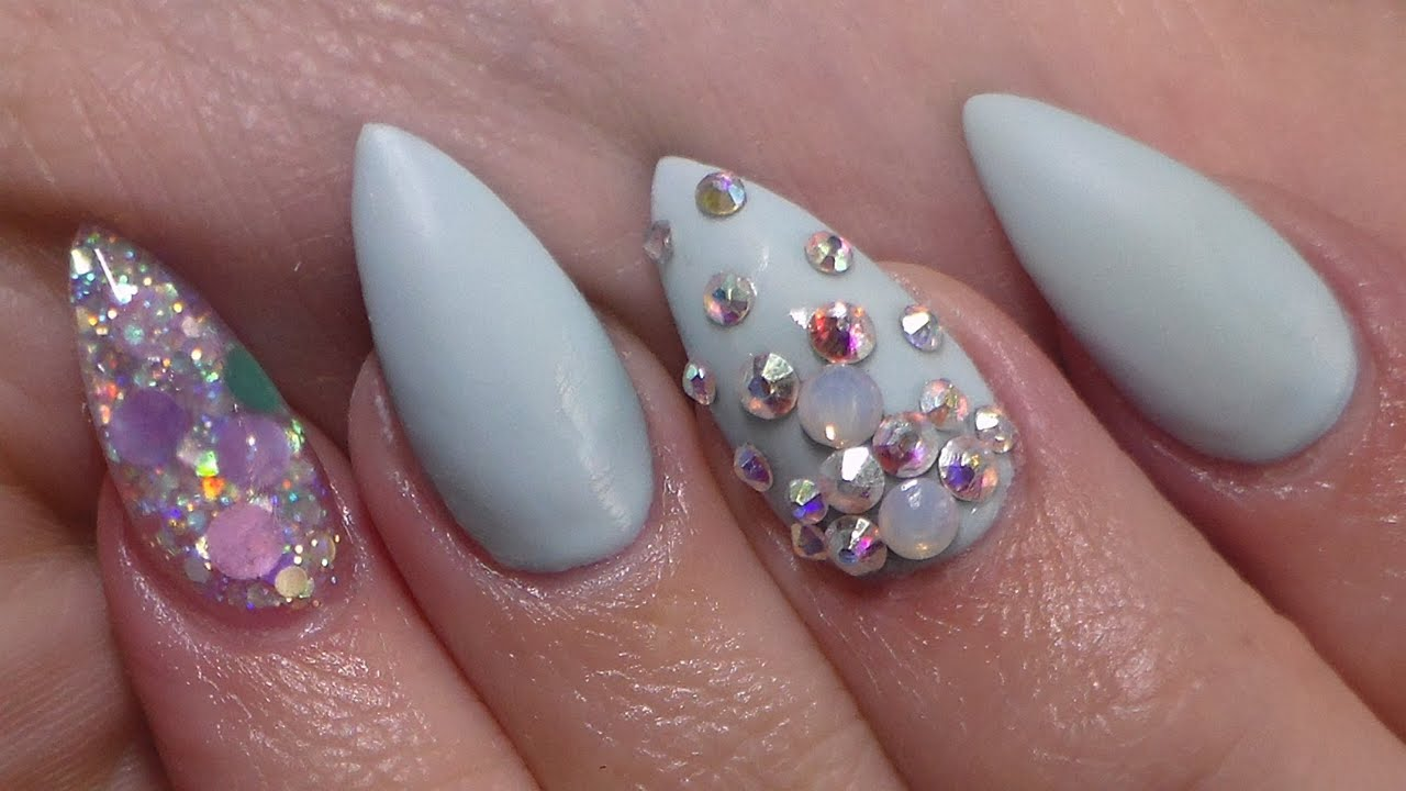 acrylic nails matte baby blue closed youtube
