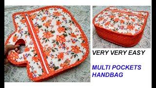 नया डिज़ाइन- यह बैग आपको बहुत पसंद आएगा - HOW TO MAKE MULTI POCKETS HANDBAG WITH ZIPPER FROM CLOTH