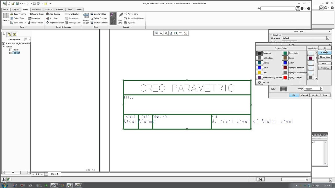 Creo Tutorial - Creating Drawing Template/Format with Title Block ...