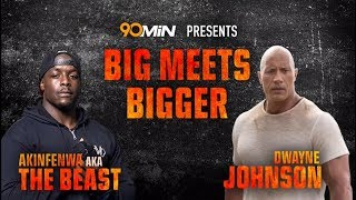 The Beast meets The Rock   The Rock Rates Akinfnewa's peoples elbow ahead of Rampage Movie 