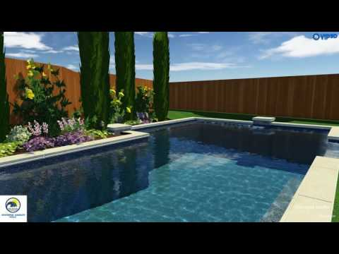 Pool Contractors Dallas | Geometric Pool with Raised Spa and Planter