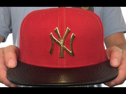 091f62ffb84 Yankees  GOLD METAL-BADGE  Red-Black Fitted Hat by New Era - YouTube