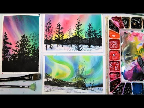 Aurora Borealis (Northern Lights) 3 Ways in Watercolor!