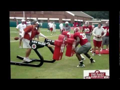 Injured C.J. Mosley at Alabama football practice