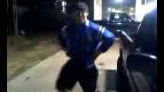 Dustin dancing to whack ass song at a car wash