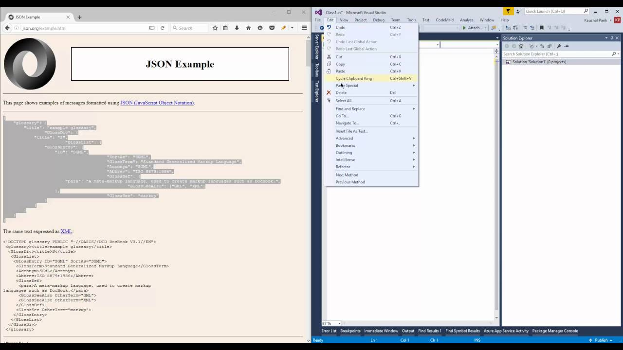 Visual Studio » Edit » Paste Special (Json to Class)