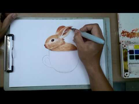 วาดภาพสีน้ำง่ายๆ กระต่ายน้อย ในแก้วกาแฟ wartercolor โดย จุลจิต หอมกระโทก Julajit Homkratok