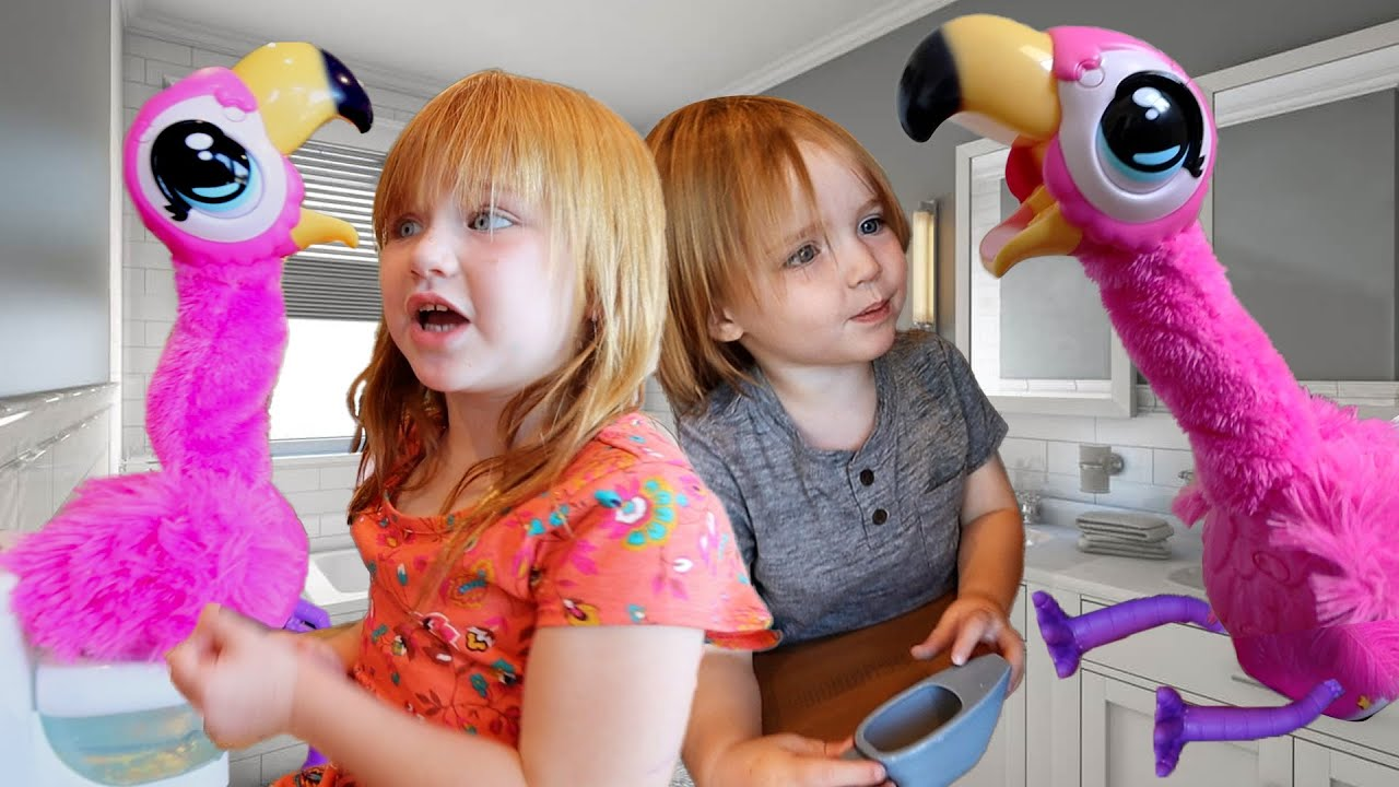 2 PiNK FLAMiNGO PETS!!  Adley and Niko Learn to feed and potty train new pretend pet animal friends