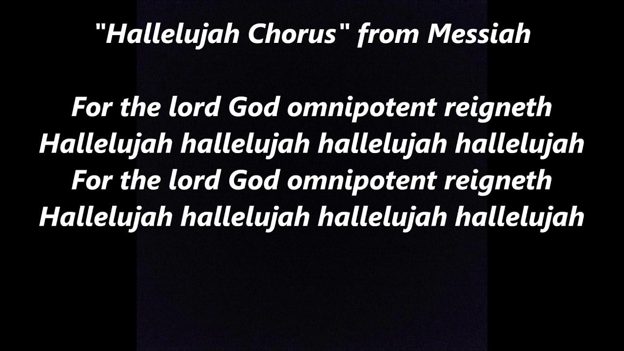 Hallelujah Chorus Handel Handle Messiah Oratorio Lyrics Words Handle Sing Along Songs