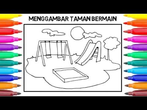 Cara Menggambar Playground Ayunan Untuk Anak Drawing