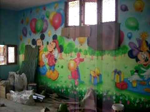 Play school wall painting mov youtube for Play school interiors pictures