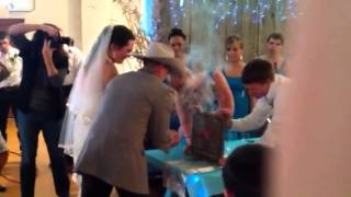 Montana wedding branding iron ceremony