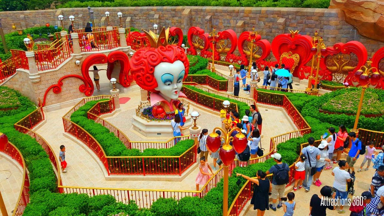 Hd Shanghai Disneyland Maze Walk Through Alice In Wonderland Maze
