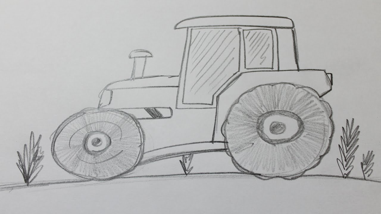 How To Draw A Tractor Youtube