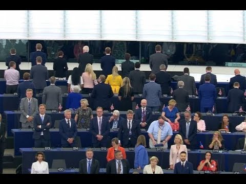 Nigel Farage and Brexit Party MEPs anger EU as they turn their backs on European anthem (2/07/19)