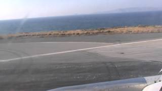Line up and take off from Nikos Kazantzakis International airport Heraklion Crete Grece