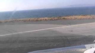 Line up and take off from Nikos Kazantzakis International airport Heraklion Crete Grece