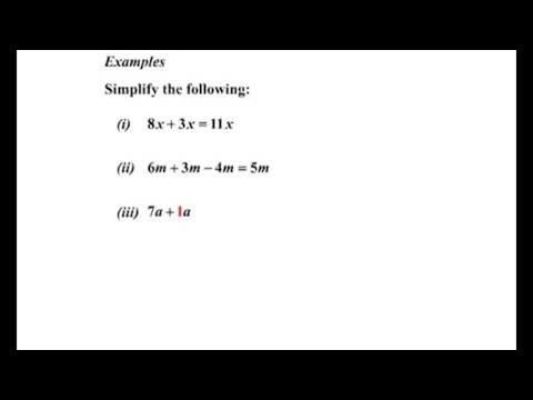 Algebra I: Monomial Addition and Subtraction I - YouTube