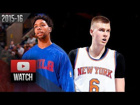 Kristaps Porzingis vs Jahlil Okafor Rookies DUEL Highlights (2016.01.18) Knicks vs 76ers - SICK!