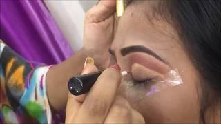 Red golden bridal eye makeup (Hindi)