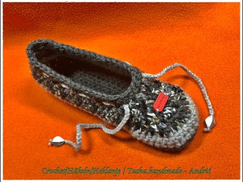 Learn how to crochet these beautiful  Ballet Slippers, booties, shoes EU 38/39 - for beginners