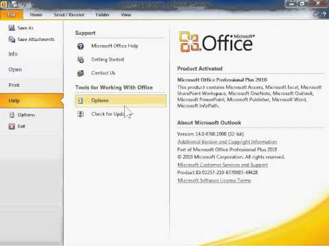 how to activate microsoft outlook 2010