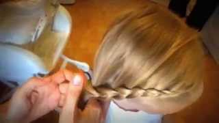 Hairstyle for girls. Диагональная коса. № 14